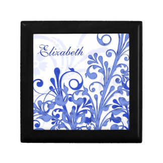 Personalized Blue and White Floral Jewelry Box