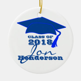 Personalized Blue and White Graduation Christmas Ornament