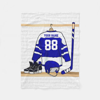 Personalized Blue and White Ice Hockey Jersey Fleece Blanket