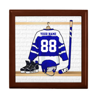 Personalized Blue and White Ice Hockey Jersey Gift Box