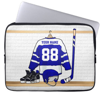 Personalized Blue and White Ice Hockey Jersey Laptop Sleeve