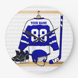 Personalized Blue and White Ice Hockey Jersey Large Clock