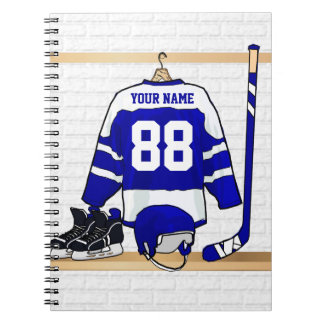 Personalized Blue and White Ice Hockey Jersey Note Book