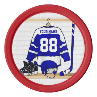 Personalized Blue and White Ice Hockey Jersey Poker Chips