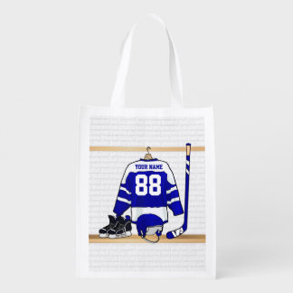 Personalized Blue and White Ice Hockey Jersey Reusable Grocery Bag