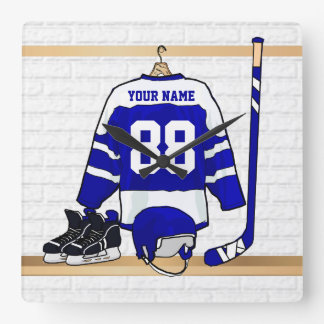 Personalized Blue and White Ice Hockey Jersey Square Wall Clock