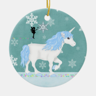 Personalized Blue and White Unicorn and Fairy Christmas Ornament