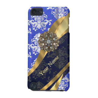 Personalized blue and white vintage damask pattern iPod touch (5th generation) case