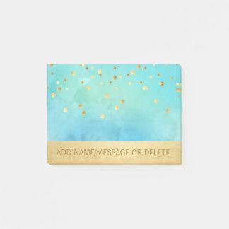 Personalized Blue Aqua Watercolor Faux Gold Foil Post-it Notes