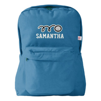 Personalized blue backpack with volleyball logo