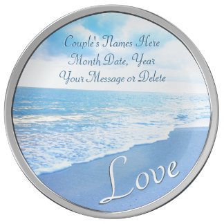Personalized Blue Beach Theme Wedding Gifts, Plate Porcelain Plate
