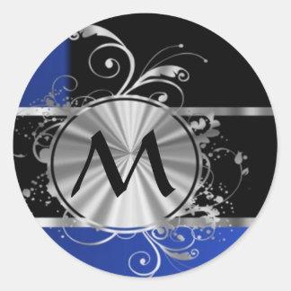 Personalized blue black and silver monogram round sticker