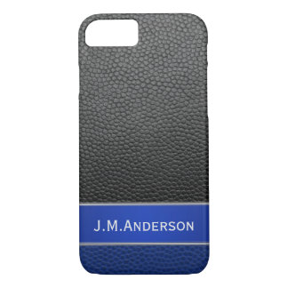 Personalized Blue Black Faux Leather Phone Case
