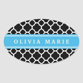 Personalized Blue Black Quatrefoil Pattern Oval Stickers