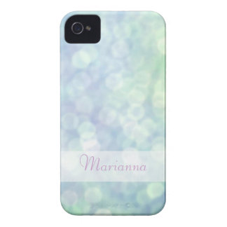 Personalized blue bokeh iphone 4 case