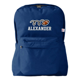 Personalized blue boys backpack with football logo