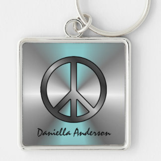 Personalized: Blue Burst Peace Sign Keychain