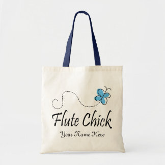 Personalized Blue Butterfly Flute Chick Music Gift Tote Bag