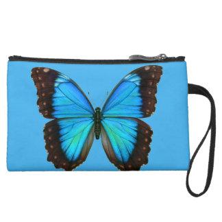 Personalized Blue Butterfly Wristlet