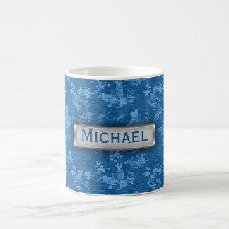 Personalized Blue Camo Pattern Basic White Mug