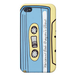 Personalized Blue Cassette Tape iPhone 4 Case