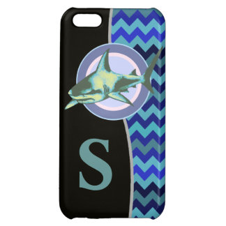 personalized blue chevron ocean shark iPhone 5C cover