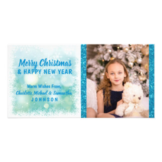 Personalized Blue Christmas / New Year | PHOTO Card