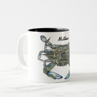 Personalized Blue Crab Two-Tone Coffee Mug