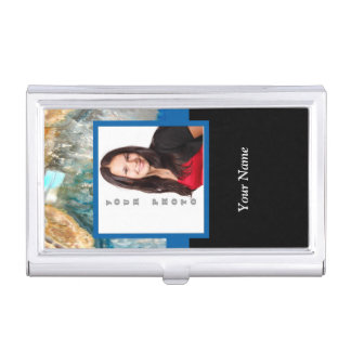 Personalized blue crystal template business card holder
