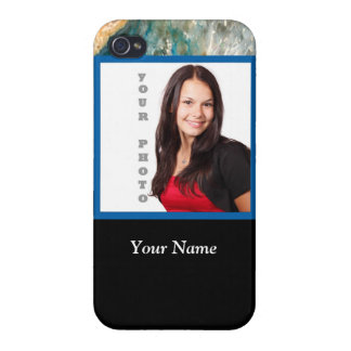 Personalized blue crystal template covers for iPhone 4