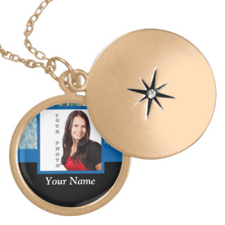 Personalized blue crystal template gold plated necklace