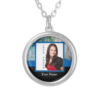 Personalized blue crystal template silver plated necklace