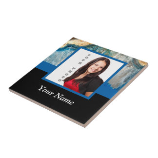 Personalized blue crystal template tile