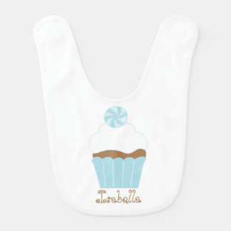 Personalized Blue Cupcake Baby Bibs