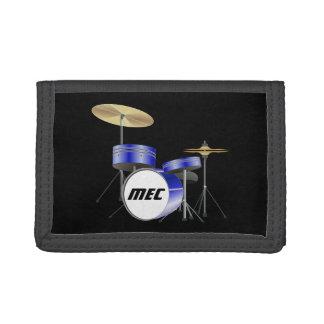 Personalized Blue Drum Set Tri-fold Wallet