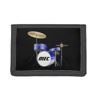 Personalized Blue Drum Set Tri-fold Wallets