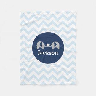 Personalized Blue Elephant  Chevron Baby Blanket