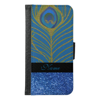 Personalized Blue Glitter and Gold Peacock Feather Samsung Galaxy S6 Wallet Case