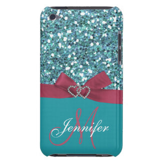 Personalized Blue Glitter, Pink Printed Bow iPod Touch Cases