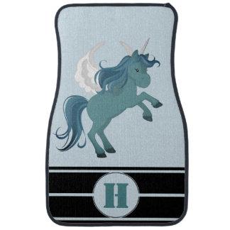 Personalized Blue Green Aqua Unicorn Racing Stripe Car Mat
