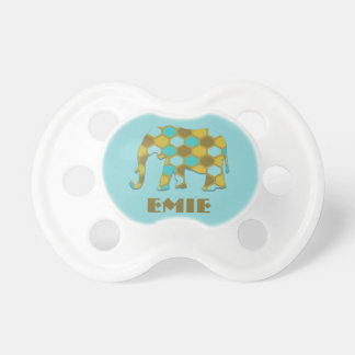 Personalized Blue Green Geometric Elephant Baby Pacifier