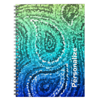 Personalized Blue Green Gold Boho Paisley Mosaic Notebook