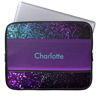 Personalized Blue Green Purple Glitter Laptop Bag