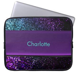 Personalized Blue Green Purple Glitter Laptop Bag Computer Sleeve