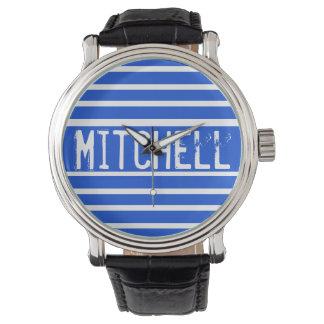 Personalized Blue H Striped MPF Watch