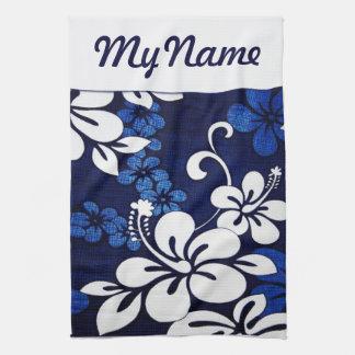 Personalized Blue Hawaii Flowers Tea Towel