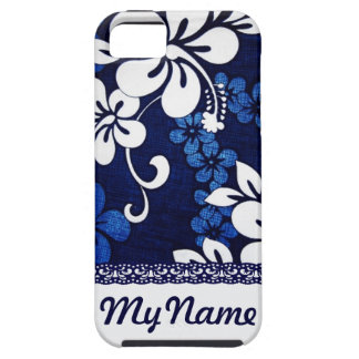 Personalized Blue Hawaii Flowers Tough iPhone 5 Case