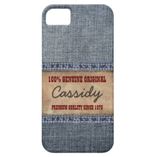 Personalized Blue Jean Denim with Leather Label iPhone 5 Cover