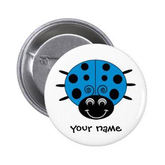 Personalized Blue Ladybug Button