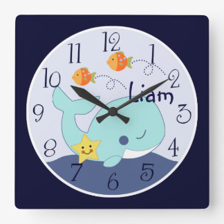 Personalized Blue Lagoon/Whale/Fish Clock